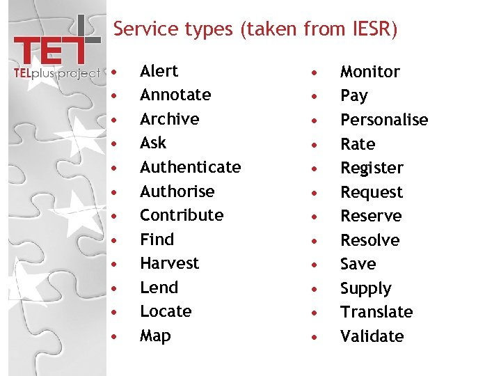 Service types (taken from IESR) • • • Alert Annotate Archive Ask Authenticate Authorise