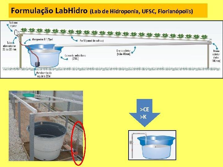 Formulação Lab. Hidro (Lab de Hidroponia, UFSC, Florianópolis) >CE >K