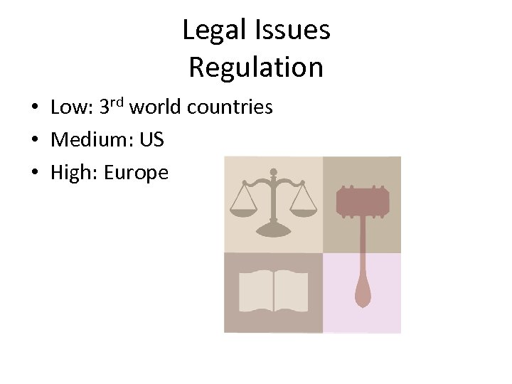 Legal Issues Regulation • Low: 3 rd world countries • Medium: US • High: