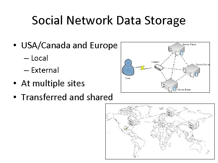 Social Network Data Storage • USA/Canada and Europe – Local – External • At