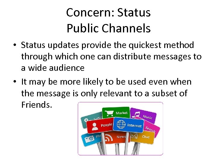 Concern: Status Public Channels • Status updates provide the quickest method through which one