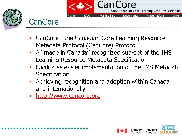 Can. Core § Can. Core - the Canadian Core Learning Resource Metadata Protocol (Can.