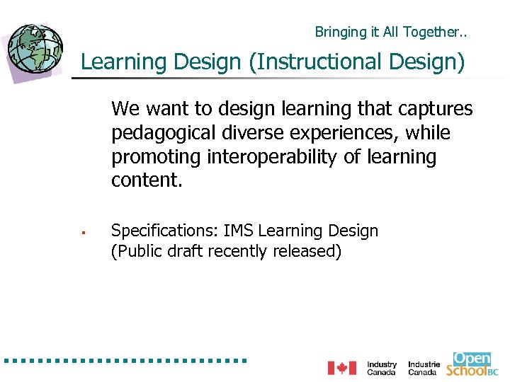 Bringing it All Together. . Learning Design (Instructional Design) We want to design learning
