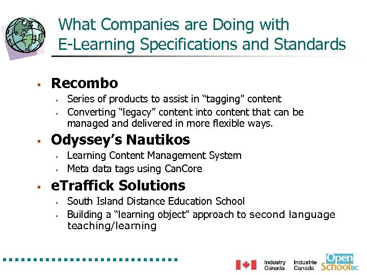 What Companies are Doing with E-Learning Specifications and Standards § Recombo § § §