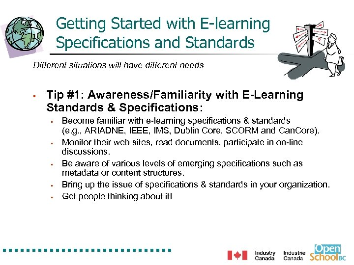 Getting Started with E-learning Specifications and Standards Different situations will have different needs §