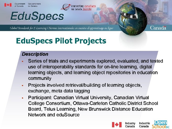 Edu. Specs Pilot Projects Description § Series of trials and experiments explored, evaluated, and