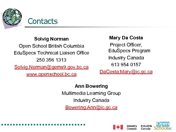 Contacts Solvig Norman Open School British Columbia Edu. Specs Technical Liaison Office 250 356