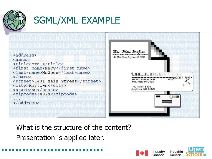 SGML/XML EXAMPLE What is the structure of the content? Presentation is applied later.