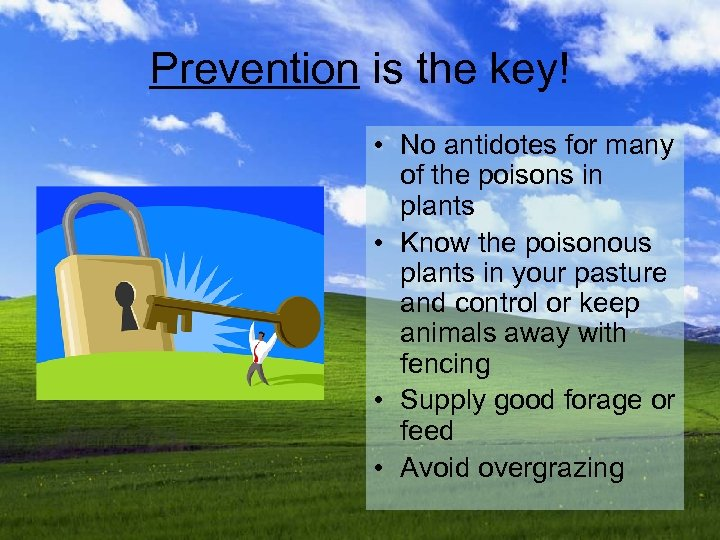 Prevention is the key! • No antidotes for many of the poisons in plants
