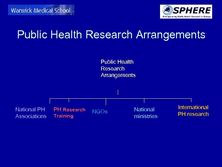 Public Health Research Arrangements National PH Associations PH Research Training NGOs National ministries International
