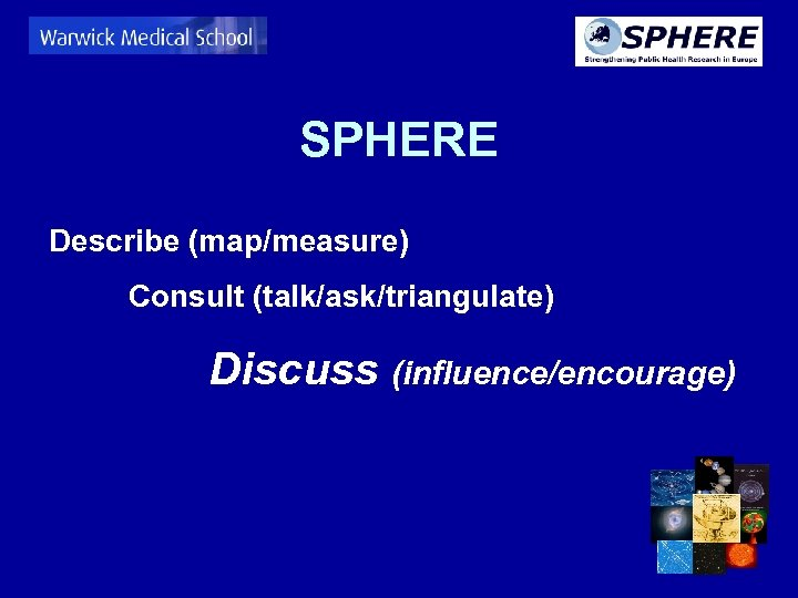SPHERE Describe (map/measure) Consult (talk/ask/triangulate) Discuss (influence/encourage)