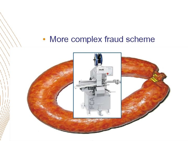 • More complex fraud scheme