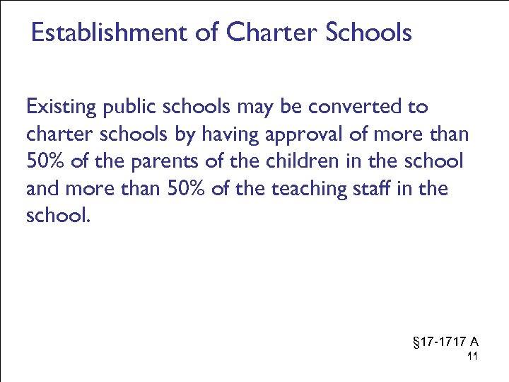 Establishment of Charter Schools Existing public schools may be converted to charter schools by