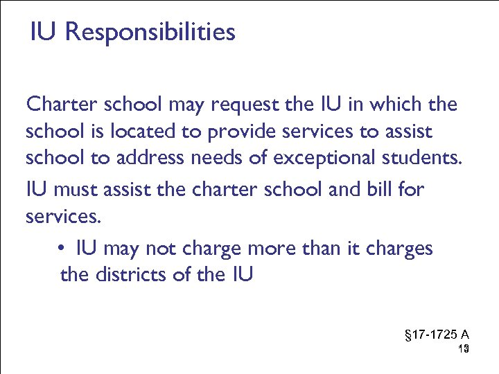 IU Responsibilities Charter school may request the IU in which the school is located