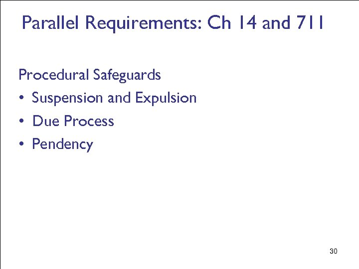 Parallel Requirements: Ch 14 and 711 Procedural Safeguards • Suspension and Expulsion • Due