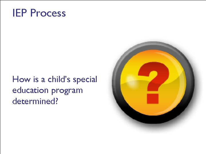 IEP Process How is a child's special education program determined?