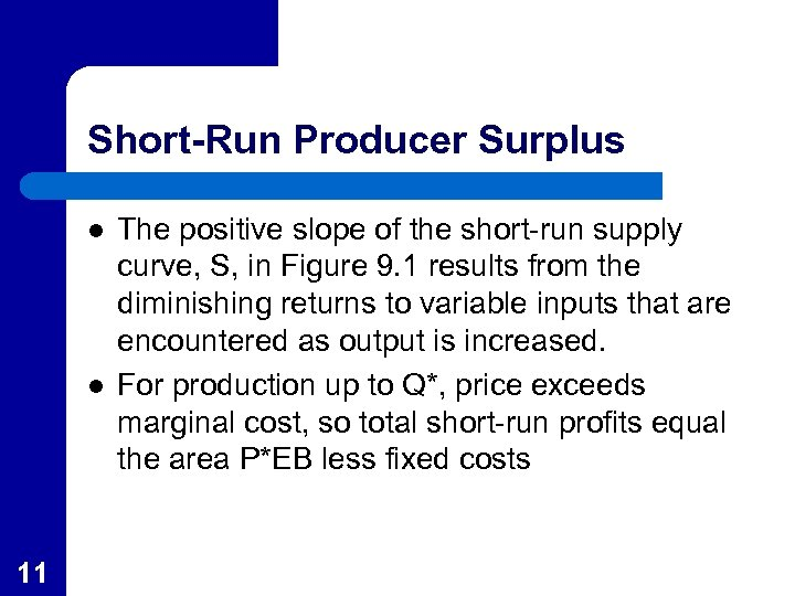 Short-Run Producer Surplus l l 11 The positive slope of the short-run supply curve,