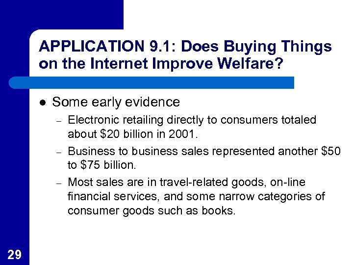 APPLICATION 9. 1: Does Buying Things on the Internet Improve Welfare? l Some early