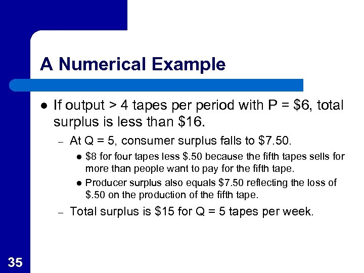 A Numerical Example l If output > 4 tapes period with P = $6,