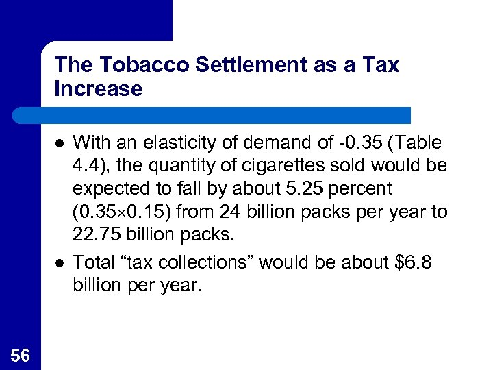 The Tobacco Settlement as a Tax Increase l l 56 With an elasticity of
