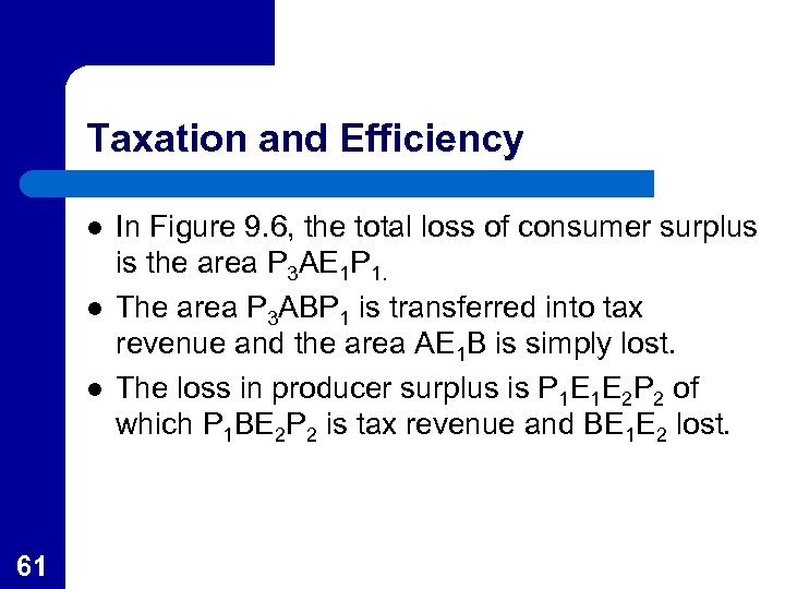 Taxation and Efficiency l l l 61 In Figure 9. 6, the total loss