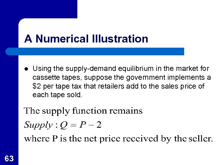 A Numerical Illustration l 63 Using the supply-demand equilibrium in the market for cassette