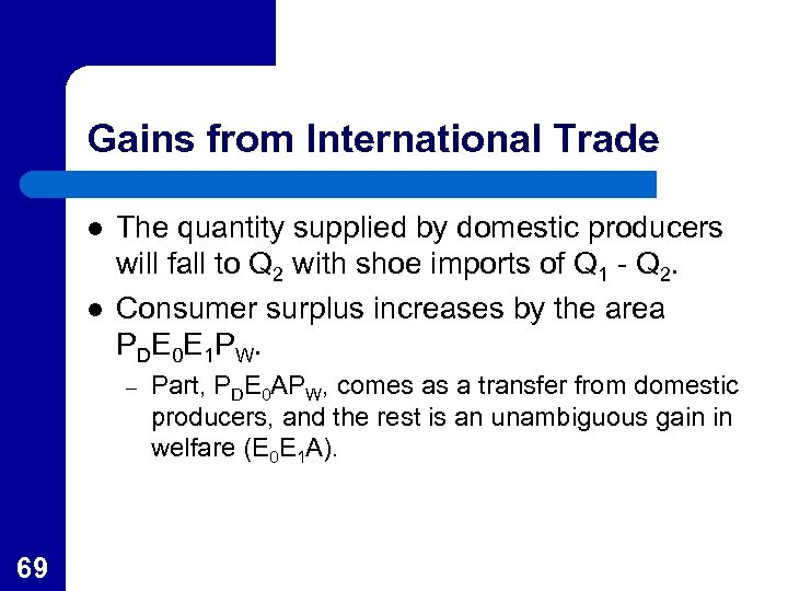 Gains from International Trade l l The quantity supplied by domestic producers will fall