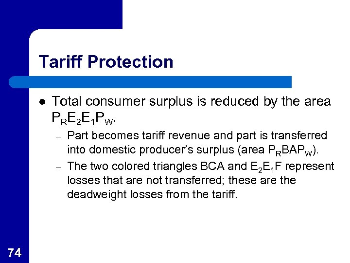 Tariff Protection l Total consumer surplus is reduced by the area P RE 2