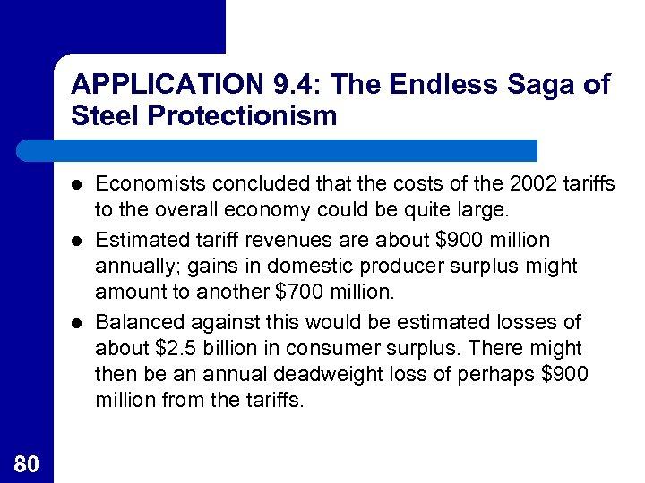 APPLICATION 9. 4: The Endless Saga of Steel Protectionism l l l 80 Economists