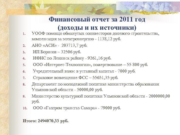 Финансовый отчет за 2011 год (доходы и их источники) 1. 2. 3. 4. 5.