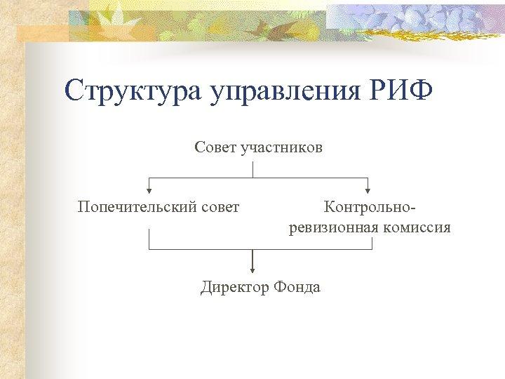 Структура управления РИФ Совет участников Попечительский совет Контрольноревизионная комиссия Директор Фонда