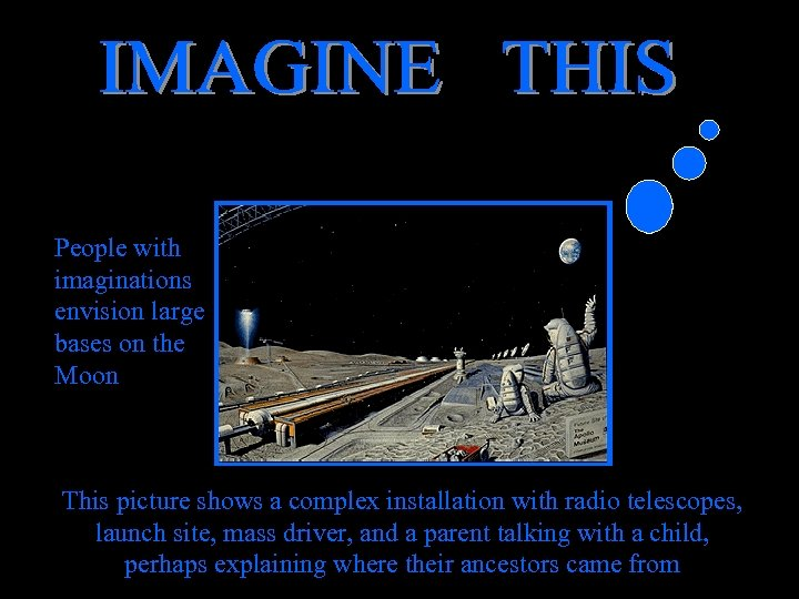 People with imaginations envision large bases on the Moon This picture shows a complex