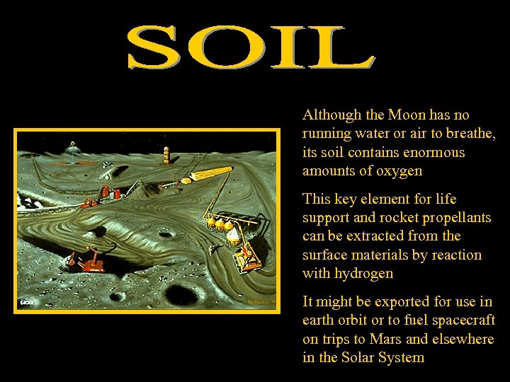 Although the Moon has no running water or air to breathe, its soil contains