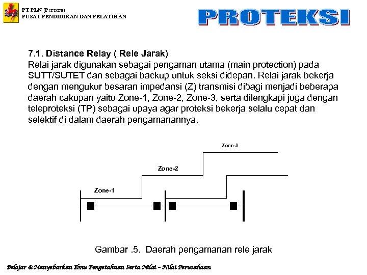 PT PLN (Persero) PUSAT PENDIDIKAN DAN PELATIHAN 7. 1. Distance Relay ( Rele Jarak)