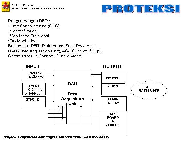 PT PLN (Persero) PUSAT PENDIDIKAN DAN PELATIHAN Pengembangan DFR : • Time Synchronizing (GPS)