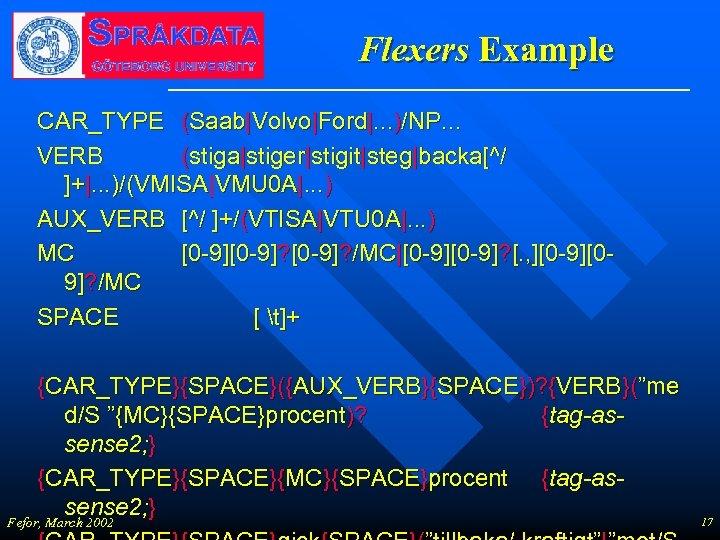 Flexers Example CAR_TYPE (Saab|Volvo|Ford|. . . )/NP. . . VERB (stiga|stiger|stigit|steg|backa[^/ ]+|. . .