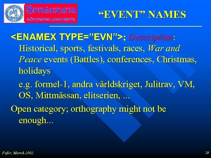 """""""EVENT"""" NAMES <ENAMEX TYPE=""""EVN"""">; Description: Historical, sports, festivals, races, War and Peace events (Battles),"""
