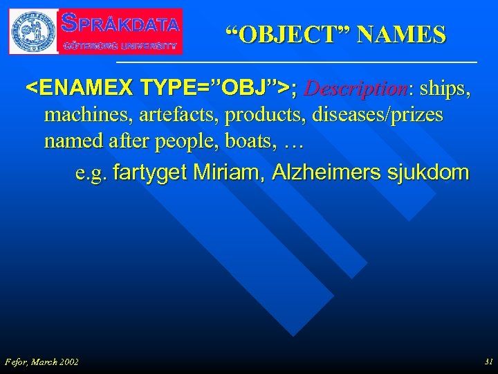 """OBJECT"" NAMES <ENAMEX TYPE=""OBJ"">; Description: ships, machines, artefacts, products, diseases/prizes named after people, boats,"