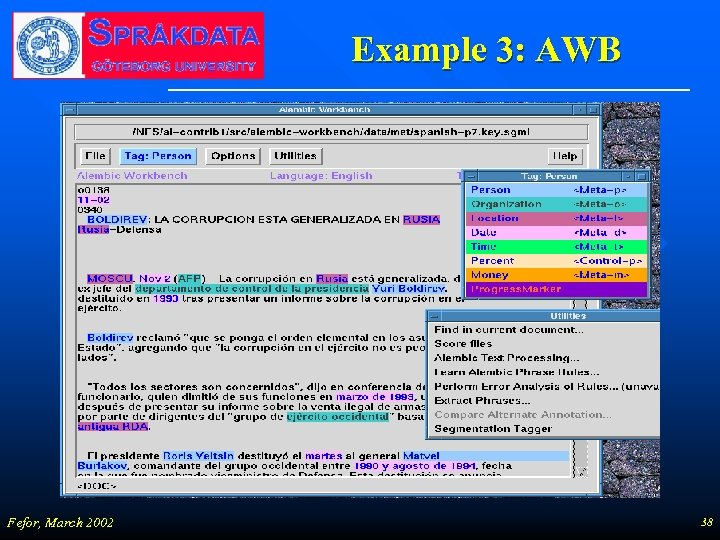 Example 3: AWB Fefor, March 2002 38