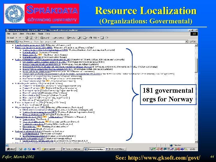 Resource Localization (Organizations: Govermental) 181 govermental orgs for Norway Fefor, March 2002 See: http: