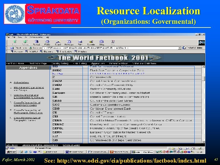 Resource Localization (Organizations: Govermental) Fefor, March 2002 See: http: //www. odci. gov/cia/publications/factbook/index. html 45