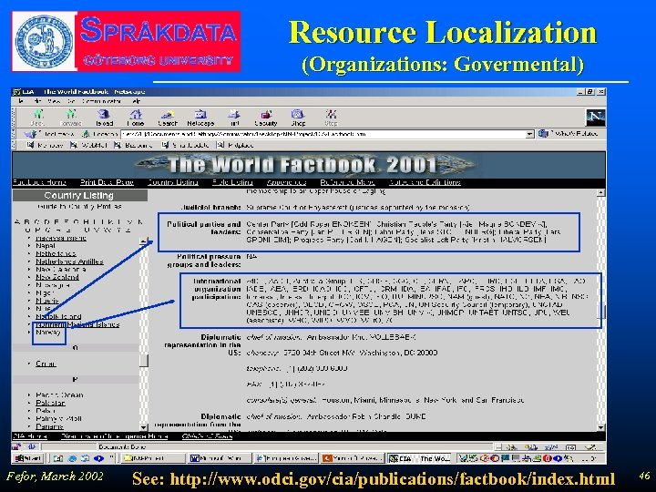 Resource Localization (Organizations: Govermental) Fefor, March 2002 See: http: //www. odci. gov/cia/publications/factbook/index. html 46