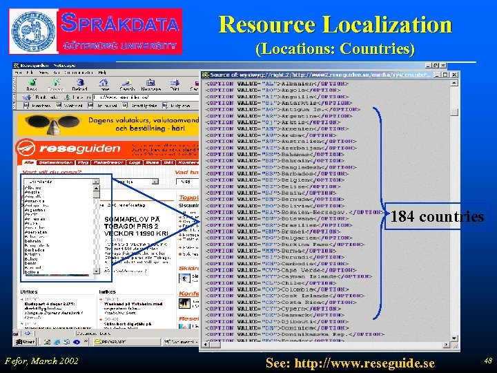 Resource Localization (Locations: Countries) 184 countries Fefor, March 2002 See: http: //www. reseguide. se
