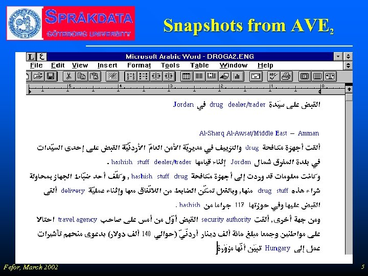 Snapshots from AVE 2 Fefor, March 2002 5