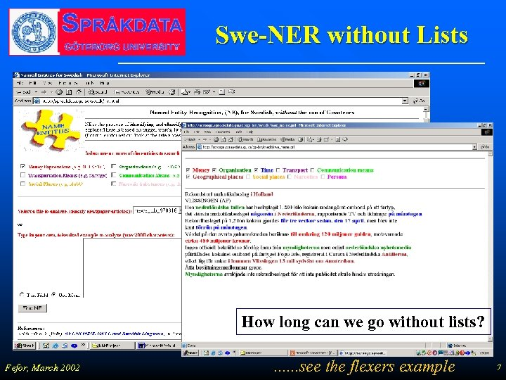 Swe-NER without Lists How long can we go without lists? Fefor, March 2002 .