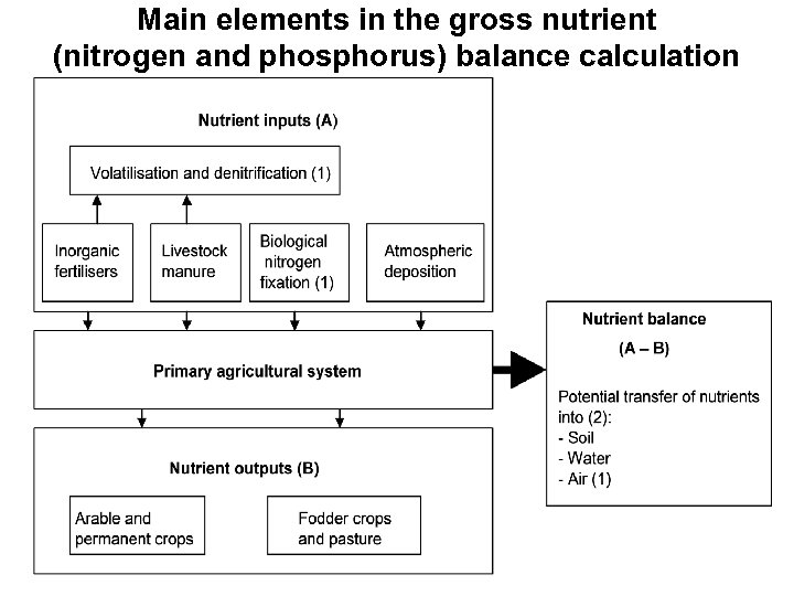 Main elements in the gross nutrient (nitrogen and phosphorus) balance calculation