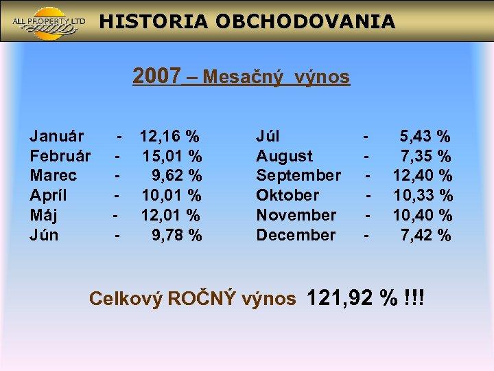 HISTORIA OBCHODOVANIA 2007 – Mesačný výnos Január Február Marec Apríl Máj Jún - 12,