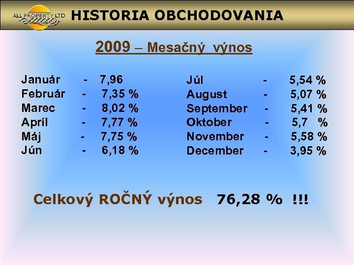 HISTORIA OBCHODOVANIA 2009 – Mesačný výnos Január Február Marec Apríl Máj Jún - 7,