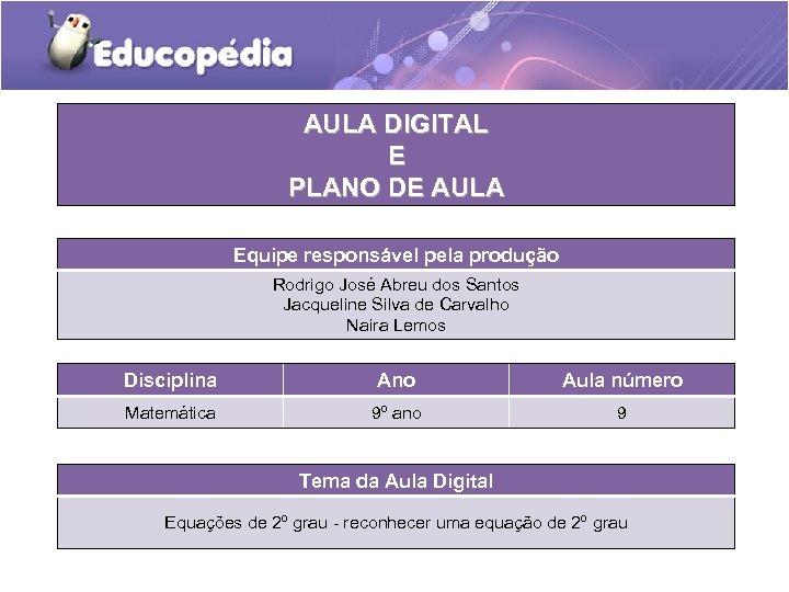 AULA DIGITAL E PLANO DE AULA Equipe responsável pela produção Rodrigo José Abreu dos