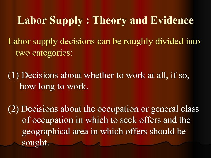 historical example of labor supply and Explain the factors that affected labor demand and labor supply in the chosen historical example the great depression during the time of the great this economic event is one of the most notorious crises in the us history, mainly because of the effects that this event caused to the labor supply.